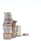 Stocks of coins Royalty Free Stock Photos