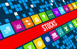 Stocks concept image with business icons and copyspace. Royalty Free Stock Photography