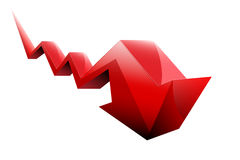 Stocks fall red arrow  Royalty Free Stock Photos