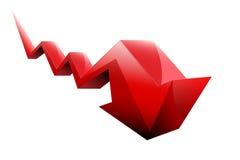 Stocks fall red arrow. 3d Royalty Free Stock Photos