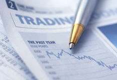 Stocks Graph and Pen Stock Photos