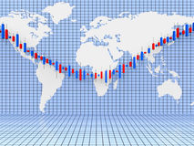 Stocks Graph Shows World Wide And Diagram Royalty Free Stock Photo
