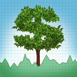 Stocks investment growth tree chart index upward Royalty Free Stock Photo