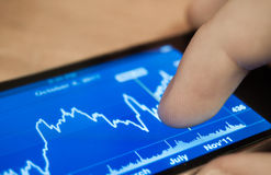 Stocks on iPhone. Checking the stocks on an Apple iPhone Royalty Free Stock Image