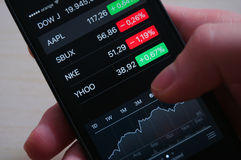 Stocks on iPhone Stock Photography