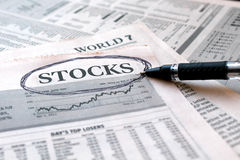 Stocks News. A Close-up of News Paper showing latest news or stock market Royalty Free Stock Photos