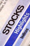 Stocks newspaper. Closeup shot of stocks newspaper stock images