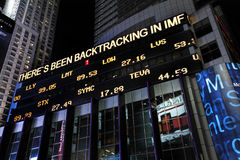 Stocks and shares display. International Monetary Fund (IMF) is an organization of 188 countries, working to secure financial stability.  Here are live updates Stock Image