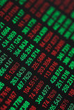 Stocks & Shares tickers. Close up of stocks & shares figures - some in the red & some in the green - shallow dof stock image
