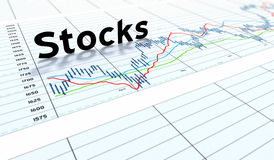 Stocks text graph Royalty Free Stock Image