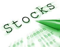Stocks Word Displays Share Market And Investment Stock Images