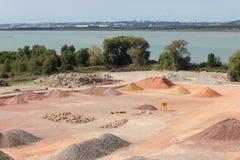 Stockyard piaski, otoczaki i agregaty, zbliżamy Le Havre, Francja Zdjęcie Royalty Free