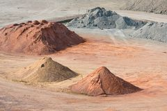 Stockyard piaski, otoczaki i agregaty, zbliżamy Le Havre, Francja Fotografia Stock