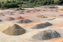 Stockyard piaski, otoczaki i agregaty, zbliżamy Le Havre, Francja Obraz Royalty Free