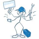 Stockzahl als Handwerker und Multitasking lizenzfreie abbildung