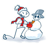Stockzahl errichtet einen Schneemann Stockfotos