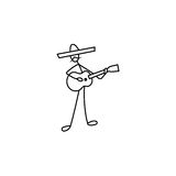 Stockzahl Manngitarrist im Sombrero lizenzfreie abbildung