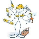 Stockzahlen als Handwerker und Multitasking lizenzfreie abbildung