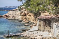Stoczni budy, kulturalny interes blisko do morza, Sant Antoni Obrazy Royalty Free
