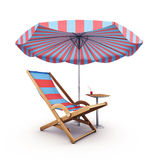 Stoel en parasol Royalty-vrije Stock Foto's