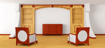 Stoelen en dienst met boekenkast in modern binnenland vector illustratie