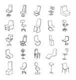 Stoelinzameling, vectorillustratie Stock Afbeeldingen