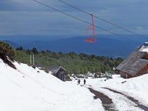 Stoellift omhoog volcan Villarica stock foto