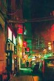 Stoep in de stad bij nacht met kleurrijk licht royalty-vrije illustratie