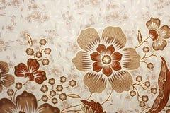 Stof met bloemenbatikpatroon Royalty-vrije Stock Fotografie