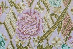 Stof met de textuur en de achtergrond van het bloempatroon Stock Fotografie
