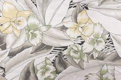 Stof met de textuur en de achtergrond van het bloempatroon Stock Foto
