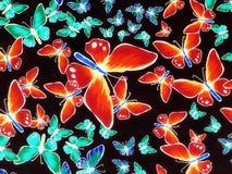 Stof met geschilderde vlinders Royalty-vrije Stock Foto