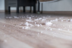 Stof op de houten vloer Royalty-vrije Stock Fotografie