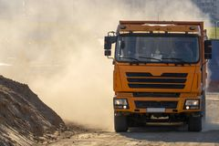 Stof van de vrachtwagenbouwwerf stock foto's