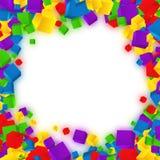 Stofdeeltjes Kleurrijke kubussensamenstelling Achtergrondmalplaatje Vector Royalty-vrije Stock Afbeeldingen