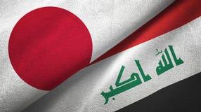 Stoff Japan- und Irak-Flaggen zusammen Textil lizenzfreie abbildung