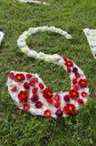 Stoff- und Blumenalphabetbuchstabe S auf Gras im Park Stockbilder
