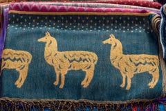 Stoffen en ambachten Cajamarca Peru stock afbeeldingen