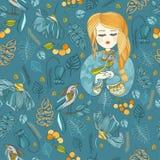 Stoffenpatroon met jonge meisje en vogel Blauw en geel Stock Fotografie