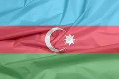 Stoffenvlag van Azerbeidzjan Vouw van Azerbeidzjaans vlagachtergrond vector illustratie