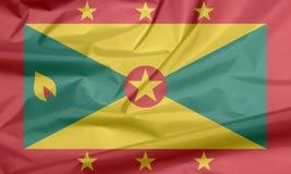 Stoffenvlag van Grenada Vouw van Grenadian vlagachtergrond vector illustratie