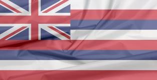 Stoffenvlag van Hawaï Vouw van de vlagachtergrond van Hawaï, de staten van Amerika royalty-vrije illustratie