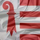 Stoffenvlag van het Juragebergte Vouw van de vlagachtergrond van het Juragebergte, het kanton van Zwitserland vector illustratie