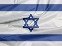 Stoffenvlag van Israël Vouw van Israëlische vlagachtergrond royalty-vrije illustratie