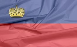 Stoffenvlag van Liechtenstein Vouw van Liechtensteiner-vlagachtergrond vector illustratie