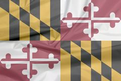 Stoffenvlag van Maryland Vouw van de vlagachtergrond van Maryland, de staten van Amerika royalty-vrije illustratie