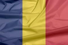 Stoffenvlag van Roemenië Vouw van Roemeense vlagachtergrond stock illustratie