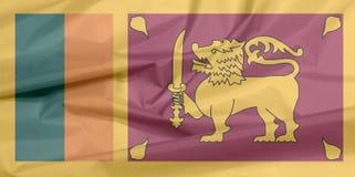 Stoffenvlag van Sri Lanka Vouw van de vlagachtergrond van Sri Lankan royalty-vrije illustratie