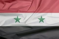 Stoffenvlag van Syrische Arabische Republiek Vouw van Syrische vlagachtergrond stock illustratie