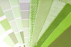 Stoffering, gordijn en kleurenselectie Stock Foto's